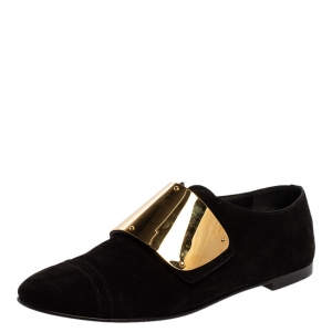 Giuseppe Zanotti Black Suede Embellished Slip On Oxford Size 41