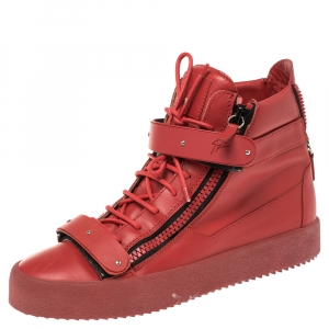 Giuseppe Zanotti Red Leather Lorenz High Top Sneakers Size 43