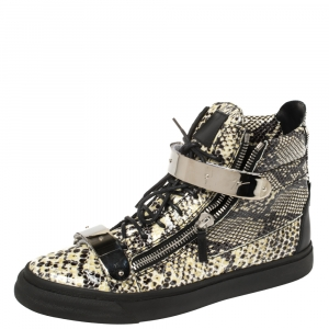 Giuseppe Zanotti Black/Cream Python Embossed Leather Coby High Top Sneakers Size 44