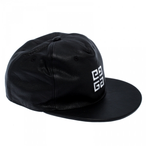 Givenchy Black Logo Embroidered Leather Cap One Size