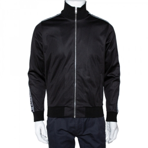 Givenchy Black Ticker Sleeve Zip Up Track Jacket S
