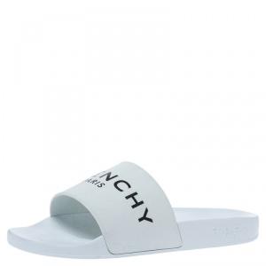 Givenchy White Rubber Logo Flat Slides Size 41