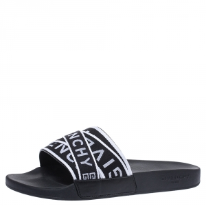Givenchy Black Leather Webbing Logo Flat Slide Sandals Size 41