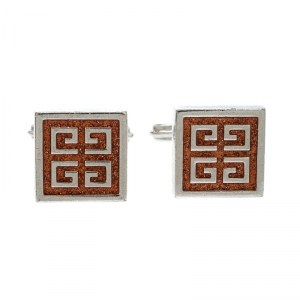 Givenchy Orange Glitter Enamel Silver Tone Square Cufflinks