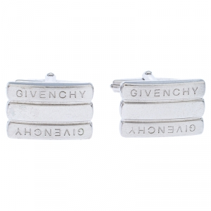 Givenchy Silver Tone Bar Cufflinks
