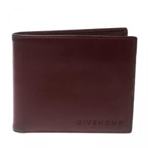 Givenchy Burgundy Leather Bi Fold Wallet