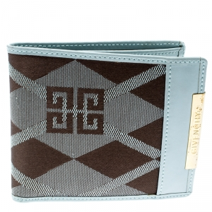 Givenchy Light Blue/Brown Canvas and Leather Compact Wallet