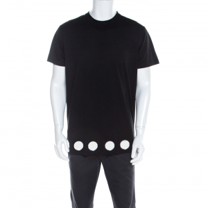 Givenchy Black Cotton Jersey Knit Circular Mirror Embellished Columbian Fit T-Shirt XXS - used