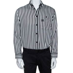 Givenchy Monochrome Striped Print Silk Blend Button Front Shirt M - used