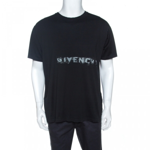 Givenchy Black Logo Print Cotton Crew Neck T-shirt L