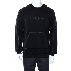 Givenchy Black Logo Print Faded Cotton Hooded Sweatshirt M