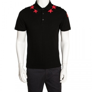 Givenchy Black Cotton Star Appliqued Polo T-Shirt M