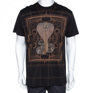 Givenchy Black Cotton Cobra Print Round Neck T Shirt XS - used