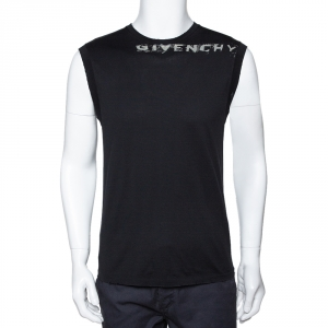 Givenchy Black Logo Print Cotton Distressed Detail Sleeveless T-Shirt L