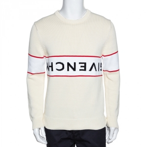Givenchy Off White Upside Down Logo Cotton Knit Jumper M
