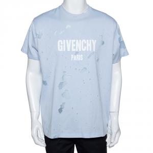 Givenchy Light Blue Logo Print Cotton Distressed Columbian Fit T-Shirt S