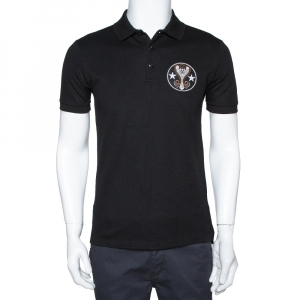 Givenchy Black Cotton Pique Cobra Patch Cuban Fit Polo T Shirt S - used