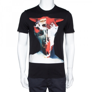 Givenchy Black Cotton Graphic Print Crew Neck T-Shirt S - used