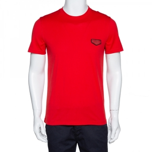 Givenchy Red Cotton Logo Patch Detail T Shirt S - used