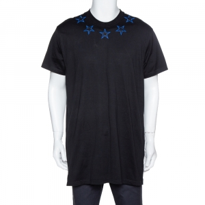 Givenchy Black & Blue Cotton Star Embroidered Crew Neck T Shirt S - used