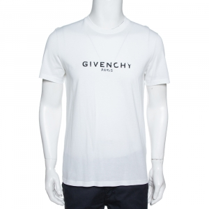 Givenchy White Cotton Jersey Logo Print Slim Fit T-Shirt M - used