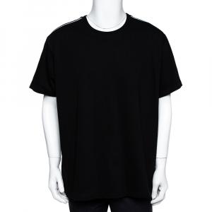 Givenchy Black Cotton Knit 4G Webbing Detail T-Shirt XXL - used