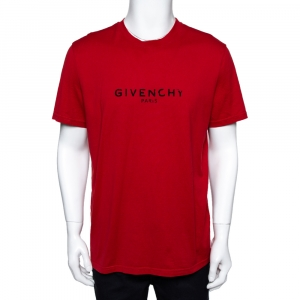 Givenchy Red Cotton Jersey Logo Print Slim Fit T-Shirt XL