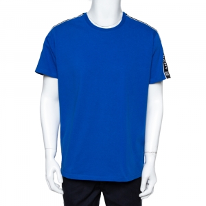 Givenchy Blue Cotton Knit 4G Webbing Detail T-Shirt M