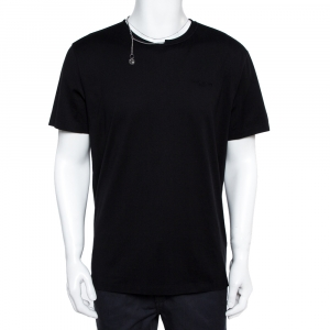 Givenchy Black Cotton Knit Chain Detail T-Shirt XL - used