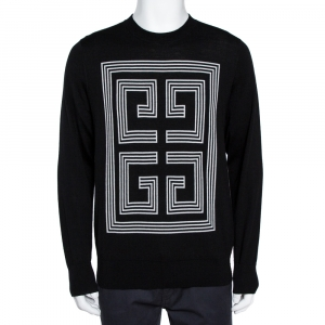 Givenchy Black Wool 4G Intarsia Knit Slim Fit Sweater XXL