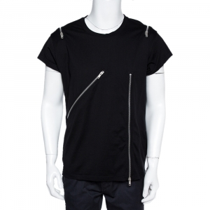 Givenchy Black Cotton Zip Detail Rock Fit T-Shirt XL - used