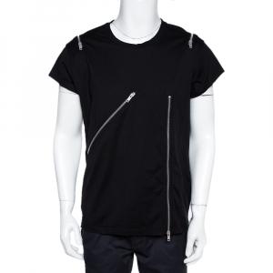 Givenchy Black Cotton Zip Detail Rock Fit T-Shirt XL