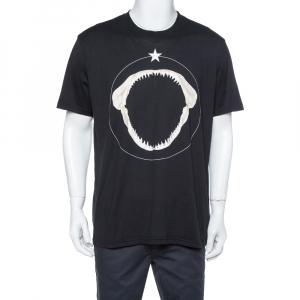 Givenchy Black Shark Jaw Print Cotton Crew Neck T-Shirt XXL - used