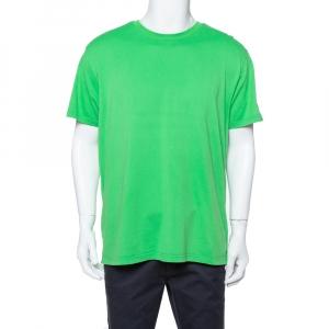 Givenchy Neon Green Knit Contrast Shoulder Strap Detail Crewneck T Shirt L - used