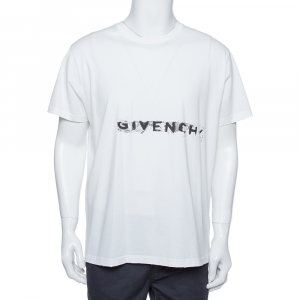 Givenchy White Cotton Logo Printed Crewneck Distressed T-Shirt L