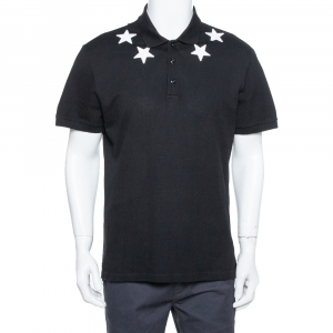 Givenchy Black Cotton Pique Star Embroidered Polo T Shirt XXL - used