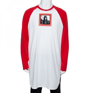 Givenchy Red & White Printed Cotton Baseball T-Shirt XL - used