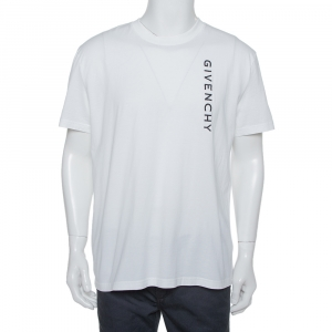 Givenchy White Cotton Logo Embroidered Crewneck T-Shirt XXL - used