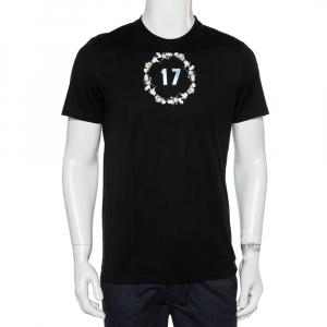 Givenchy Black Floral Printed Cotton Metal 17 Detail Crewneck T-Shirt M - used