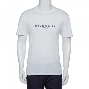 Givenchy White Distressed Logo Print Cotton T-Shirt XL - used