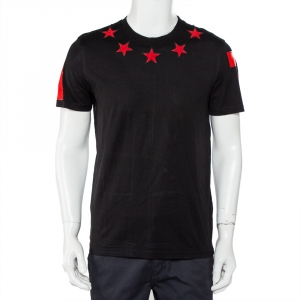 Givenchy Black Cotton Star Applique Detail Crewneck T-Shirt M - used