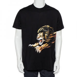 Givenchy Black Lion Printed Signature Cotton Oversized T-Shirt S - used