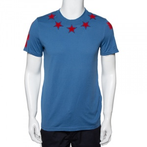 Givenchy Blue Cotton Star Patch Crewneck T-Shirt S - used