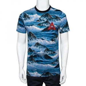 Givenchy Blue Printed Cotton Crew Neck T-Shirt S - used