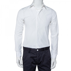 Givenchy White Cotton Long Sleeve Button Front Classic Slim Fit Shirt S - used