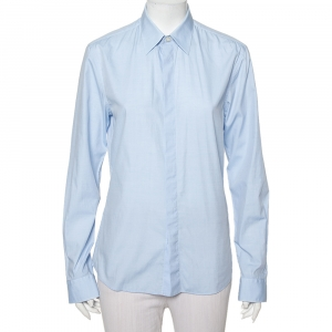 Givenchy Light Blue Cotton Long Sleeve Button Front Classic Slim Fit Shirt S - used