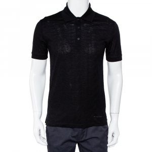 Givenchy Black Jacquard Knit Logo Detail Polo T-Shirt M - used