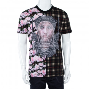 Givenchy Multicolor Tartan Floral Madonna Printed T-Shirt S - used