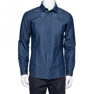 Givenchy Navy Blue Denim Star Embroidered Button Front Shirt M - used