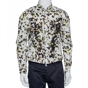Givenchy White Wreath Printed Cotton Patch Belt Detail Button Front Shirt M - used